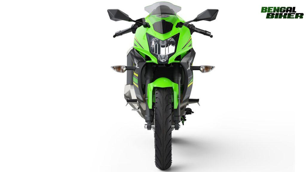 Kawasaki Ninja 125 green colors font side