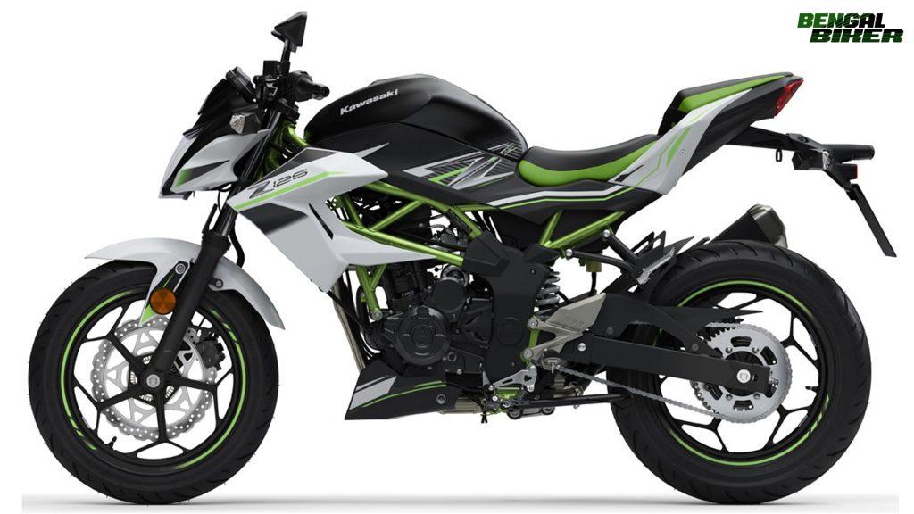 Kawasaki Z125 black and whaite